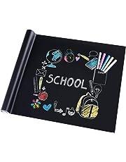 Rabbitgoo Blackboard Film Self-Adhesive Chalkboard Children Blackboard Film DIY Sticker for School Home and Office with 5 x Chalk Black 44.5 x 200 cm