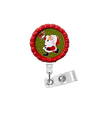 amazon com dancing santa nursing badge holder er nurse badge
