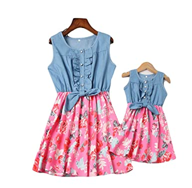 Mommy And Me Denim Floral Print Sleeveless Skirt Dresses Mother Daughter Dress Outfits 3