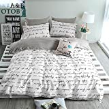 queen duvet cover grey - ORoa Lightweight Cotton Duvet Cover Set for Teens Adults White Grey Queen 3 Piece Reversible Letters Home Textile Bedding Set with Pillowcases, Style 5