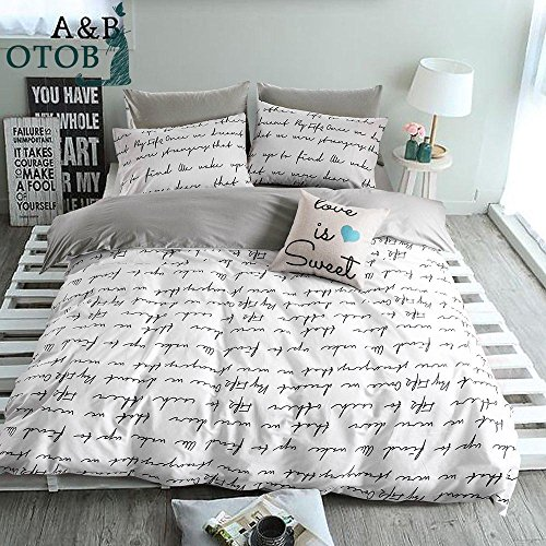 ORoa Lightweight Cotton Duvet Cover Set for Teens Adults White Grey Queen 3 Piece Reversible Letters Home Textile Bedding Set with Pillowcases, Style 5