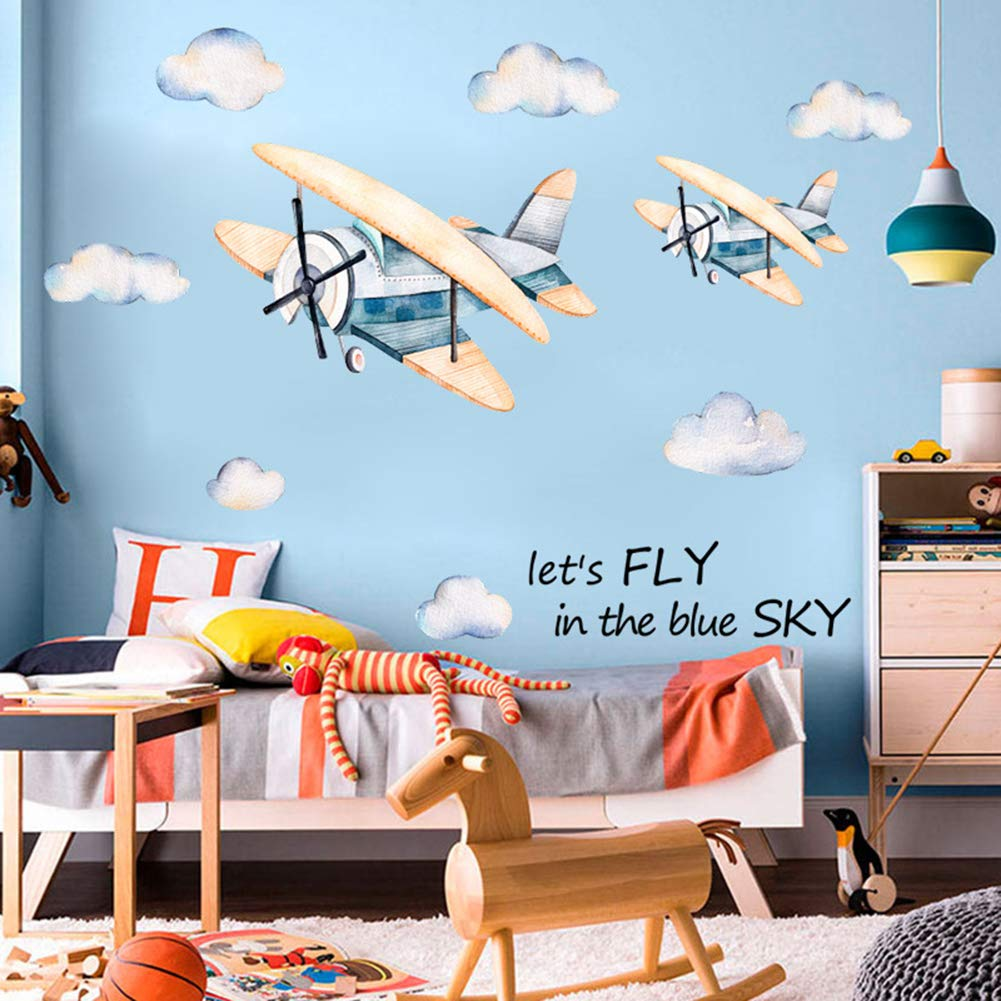 Poorminer Watercolor Airplane with Clouds Wall Decals, Wall Sticker for Kids Rooms Boys Bedroom Nursery Playroom Toy Story Classroom Home Decoration,DIY Vinyl Removable Art Wall Decor