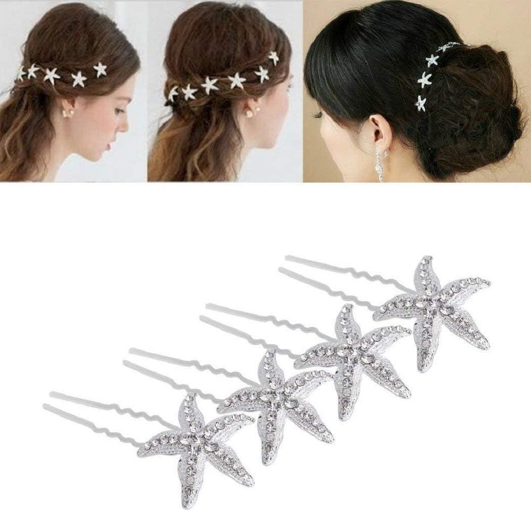 Starfish Hairpin, Crystal Bride Hair Clip