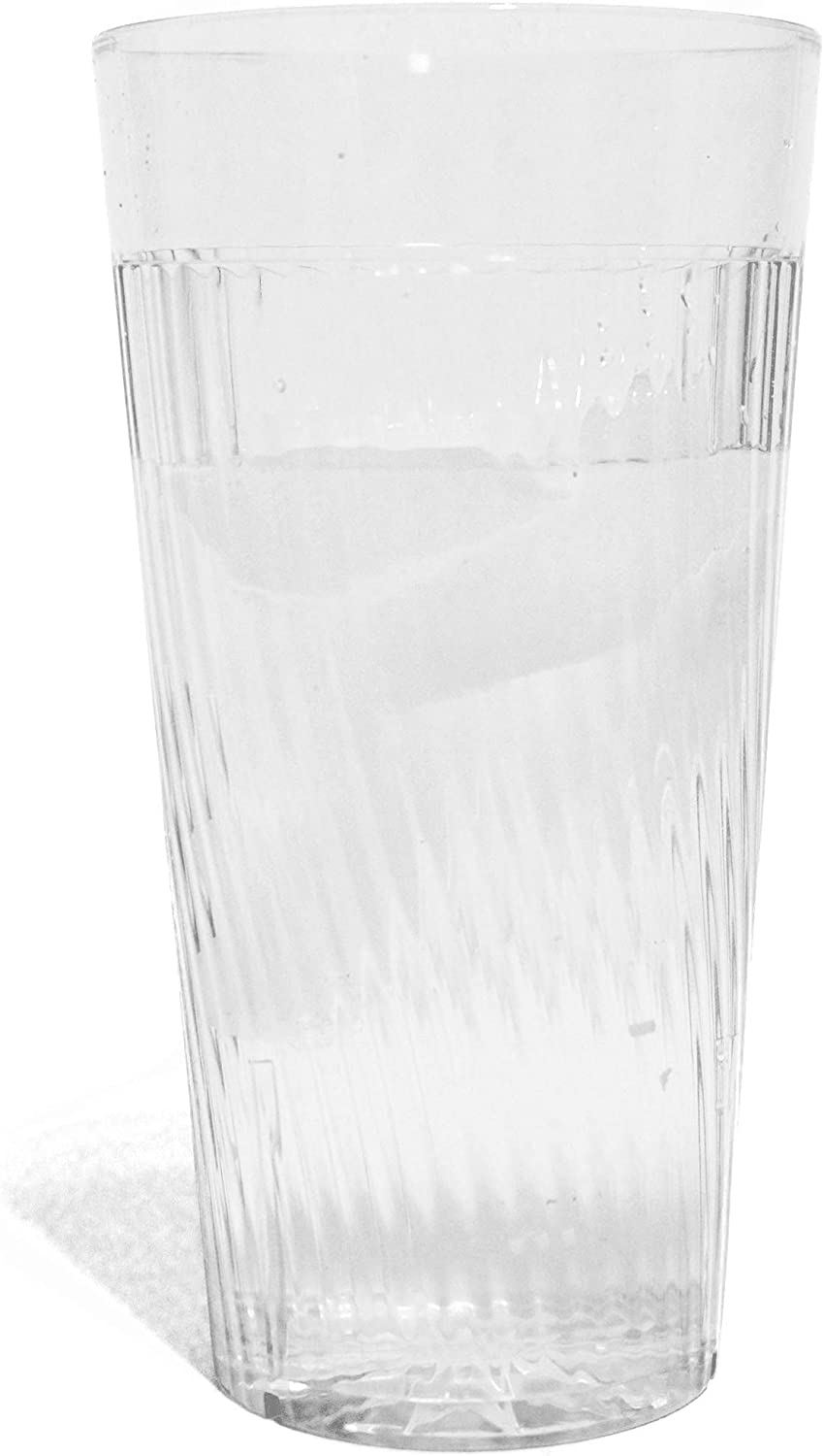 Tiger Chef 14 ounce Clear Glass Like Unbreakable Scratch Resistant Plastic Tumblers Set, Exclusive Starburst Design Stackable Restaurant Beverage Cup (12-Pack)