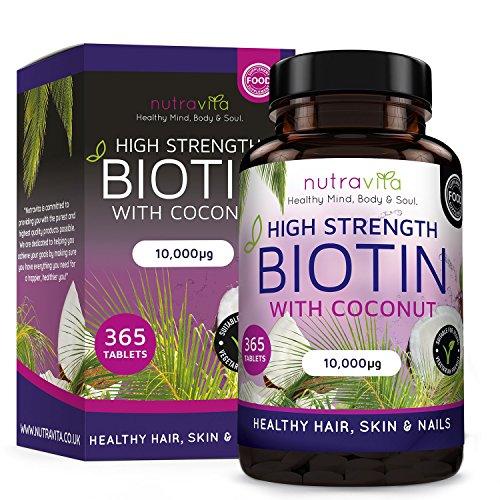 Biotin (High Potency) Hair Growth Supplement 10,000mcg 1 Year Supply;...