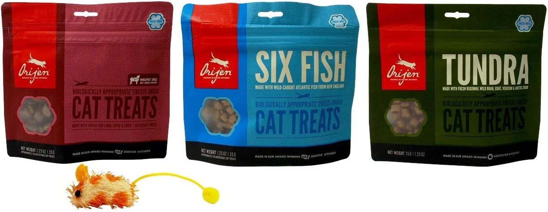 Orijen Freeze-Dried Cat Treats 3 Flavor Variety with Catnip Mouse Toy Bundle, 1 Each: Whole Prey Lamb Liver Tripe, Six Fish, Tundra (1.25 Ounces)