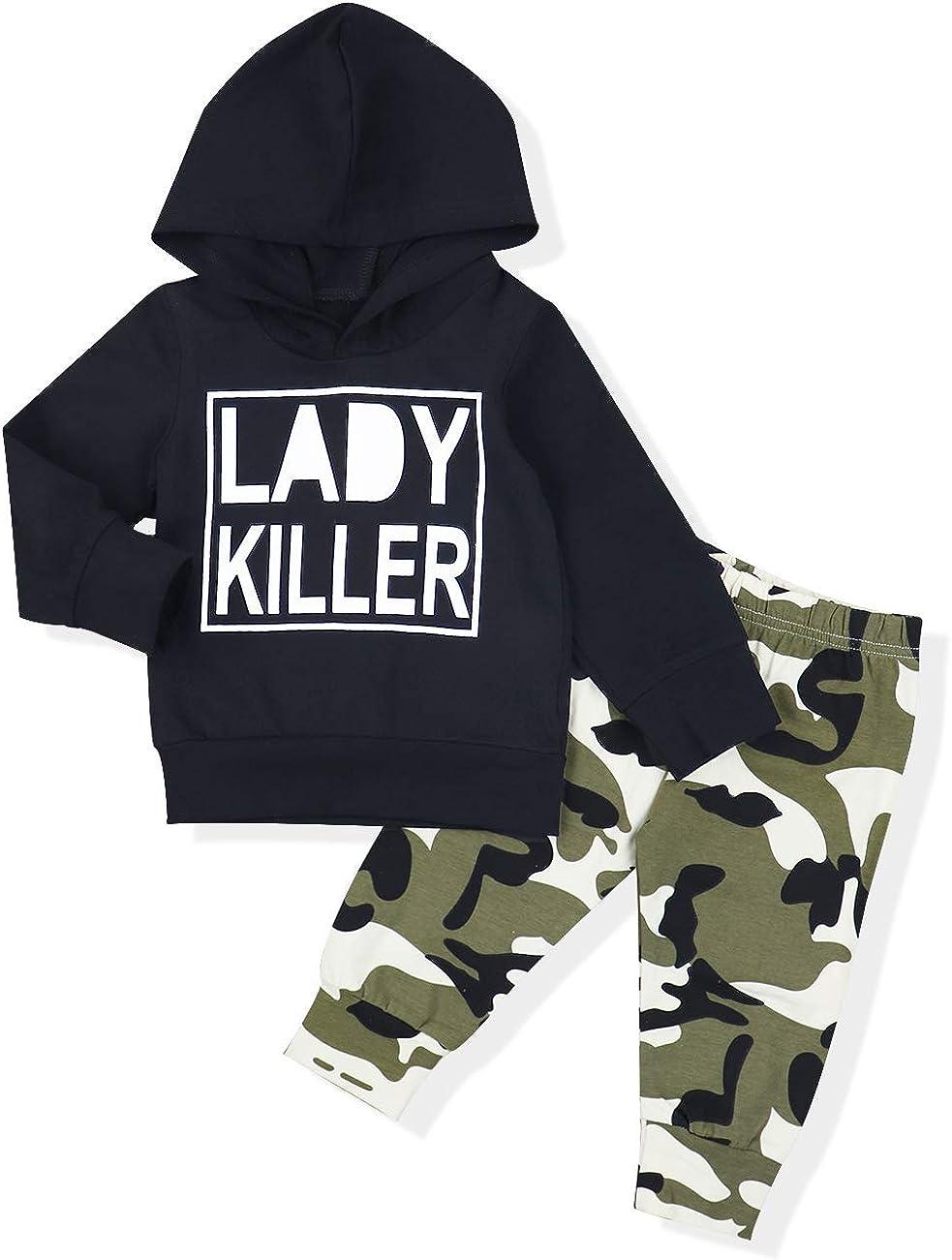 Baby Boy Kleidung Langarm gedruckt Lady Killer Top Hoodie und Camouflage Hosen Infant Outfits Set