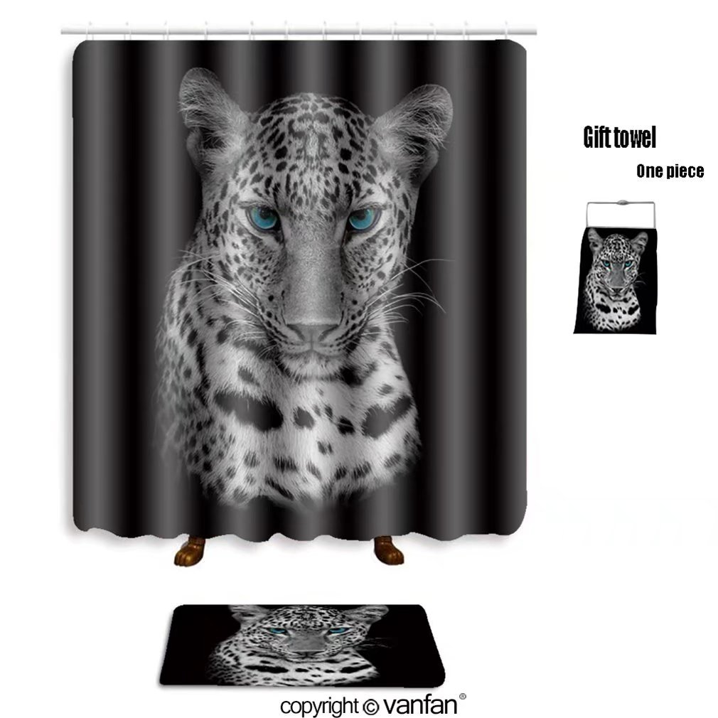 vanfan bath sets with Polyester rugs and shower curtain leopard portrait 196602938 shower curtains sets bathroom 60 x 72 inches&23.6 x 15.7 inches(Free 1 towel and 12 hooks)