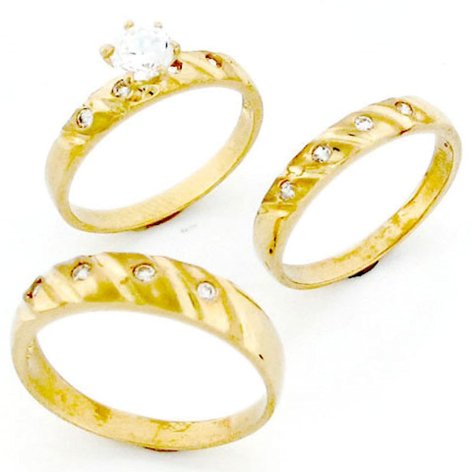 10k Gold His & Hers Trio 3 Piece CZ Wedding Ring Sets