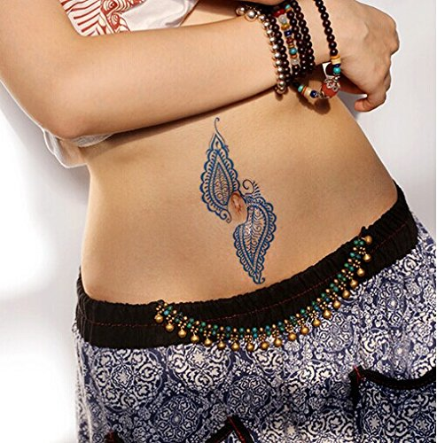 Gc india henna style hand leg neck arm temporary tattoo for Fake neck tattoo