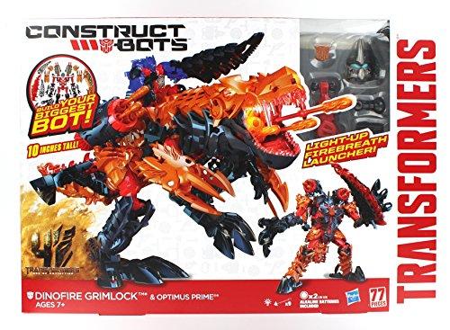 Transformers Age of Extinction Construct-Bots Dinofire Grimlock and Optimus Prime Set (Transformers Age Of Extinction Bumblebee Toy)