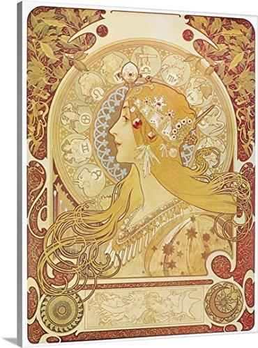 Alphonse Mucha Premium Thick-Wrap Canvas Wall Art Print entitled Zodiac, 1896 30