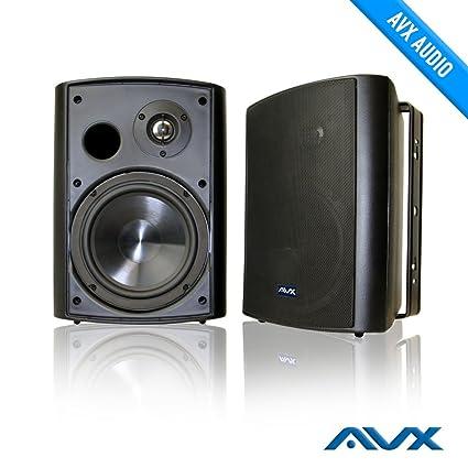 6.5u0026quot; Outdoor Weatherproof Patio Speaker Pair (black) PSP B1   By AVX