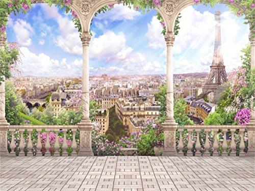 Aofoto 5x3ft Romantic Eiffel Tower Photography Background Retro Pillar Paris Streetscape Ancient Architecture Balcony Backdrop Aerial City Landscape