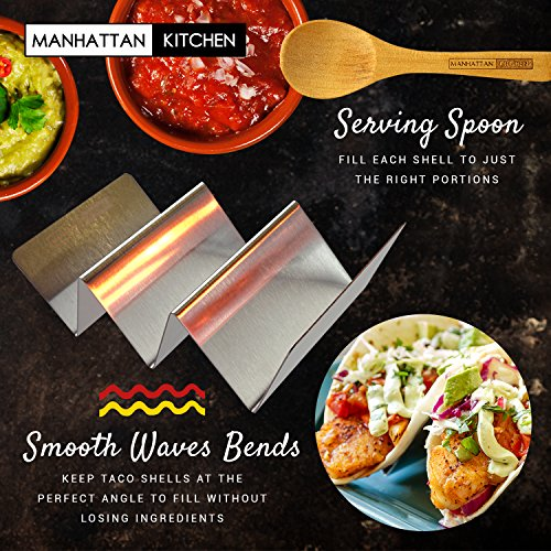 Taco Holder Stand (2 Platter Set) w/Serving Spoon - Fun Street Style Stainless Steel Metal Server Tray & Tortilla Warming Kit + Utensil for Soft & Hard Shell Prep Accessories by Manhattan Kitchen by Midelo (Image #5)