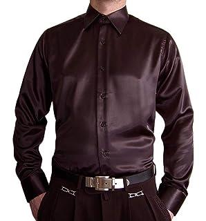 By Neki Mens Satin Double Cuff Formal Dress Shirt with Matching Tie S M L XL XXL 3XL