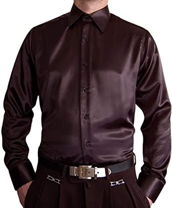 Mens Premium High Quality Double Cuff Satin Silk Look Dress Shirt All Sizes UK