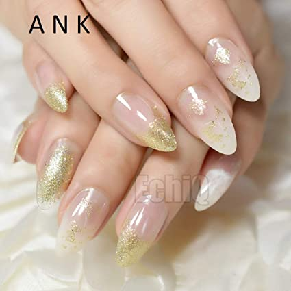 24 uñas postizas Stiletto postizas de color blanco transparente con purpurina acrílica larga redonda natural