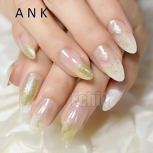 24 uñas postizas Stiletto postizas de color blanco transparente con purpurina acrílica larga redonda natural: Amazon.es: Belleza