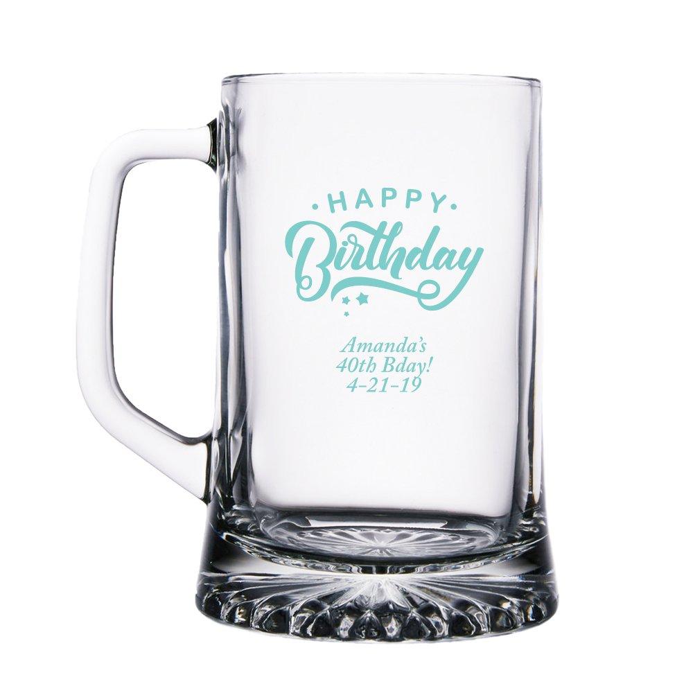 Personalizedカラー印刷ガラスビールマグ – Happy誕生日 ブルー BM15OZ-EDPP3R-REB-144pk B079ZRRSMR Robins Egg Blue 144