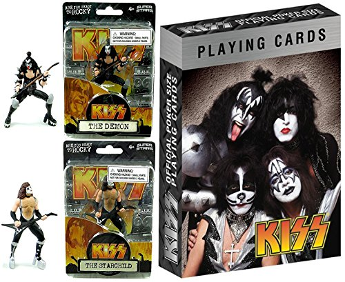 KISS Action Figures Rock Band & Ready to Roll Playing Cards Deck - The Demon & The Starchild 4.5