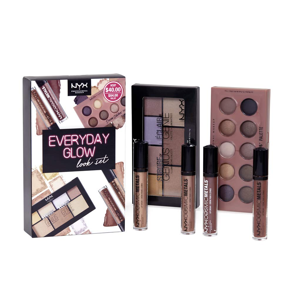 NYX PROFESSIONAL MAKEUP Everyday Glow Look Set with 1 Eyeshadow Palette, 1 Highlighting Illuminating Palette, 4 Lip Creams (6 Count) by NYX PROFESSIONAL MAKEUP