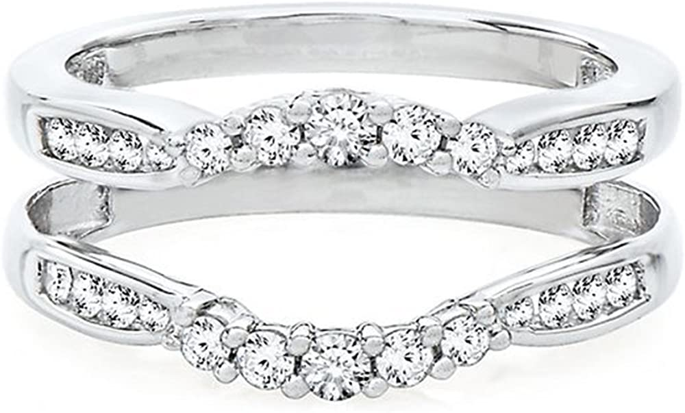 Jewelry Star 14K White Gold Plated in Alloy 1/2 ct Cubic Zirconia Solitaire Ring Guard Wrap Enhancer