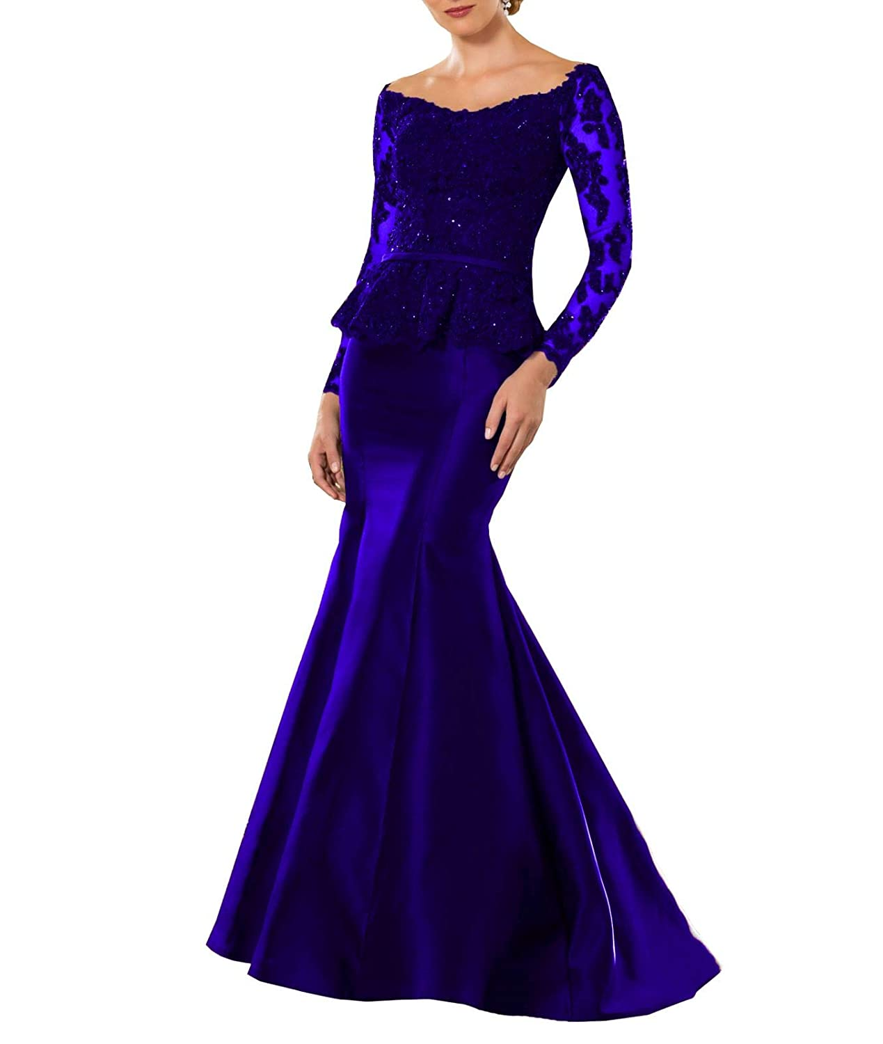 bluee Wanshaqin Women's Heavy Beaded Lace Formal Evening Gown Stunning Silk Party Dress with Empire Waist