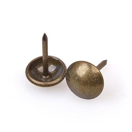 FUCAS Upholstery Tacks Furniture Nails Pins 150pcs (Antique Brass)
