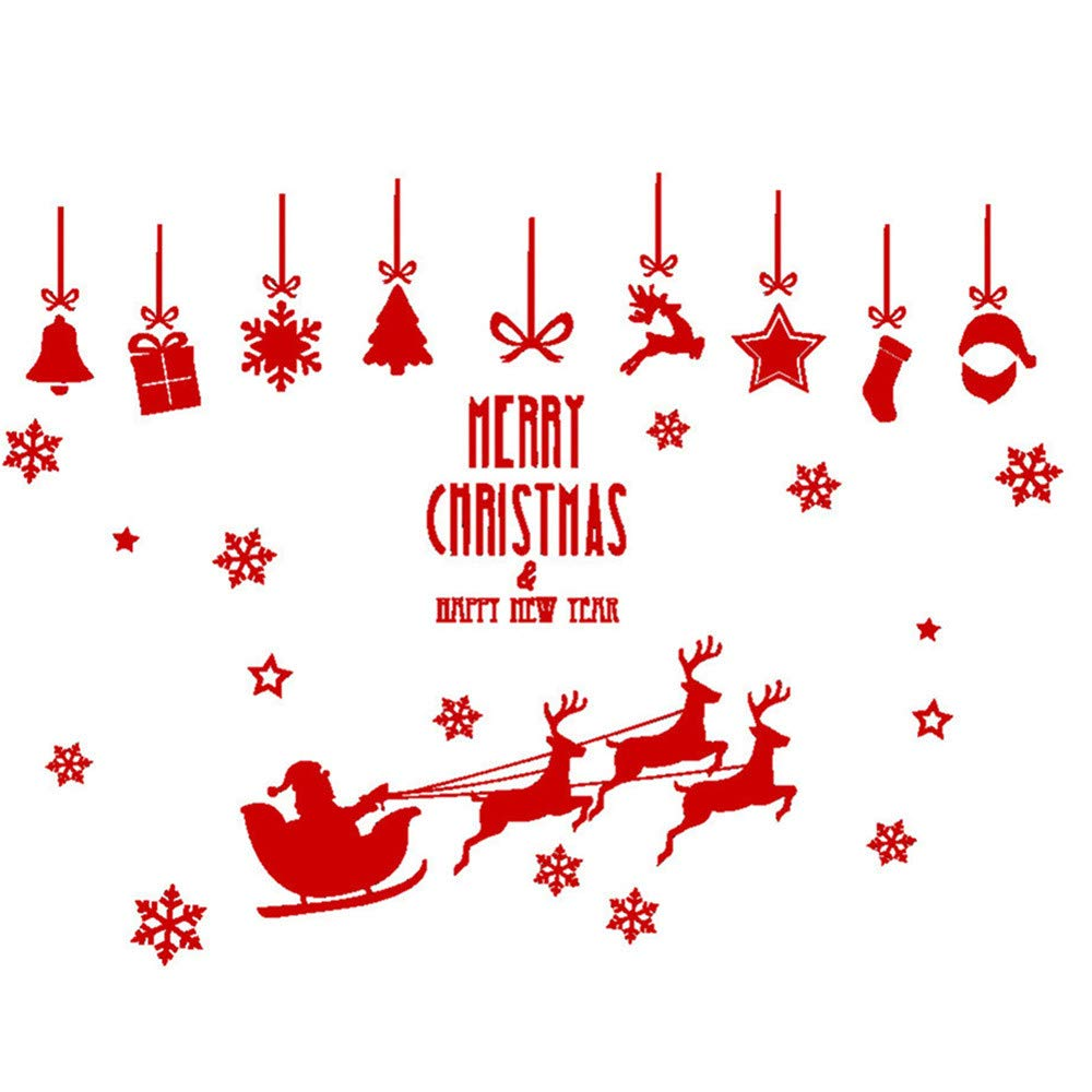 Mome Merry Christmas Christmas Letter Pattern Decor Removable Wall Sticker Bedroom Backdrop Art Decal DIY Crafts Window Glass Door Ornaments (C)