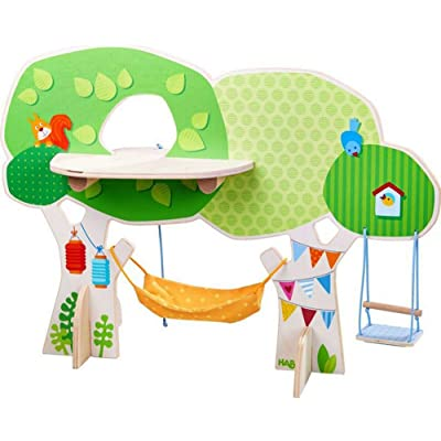 HABA Little Friends Tree House Wooden Play Set with Ladder, Platform, Swing and Hammock: Toys & Games