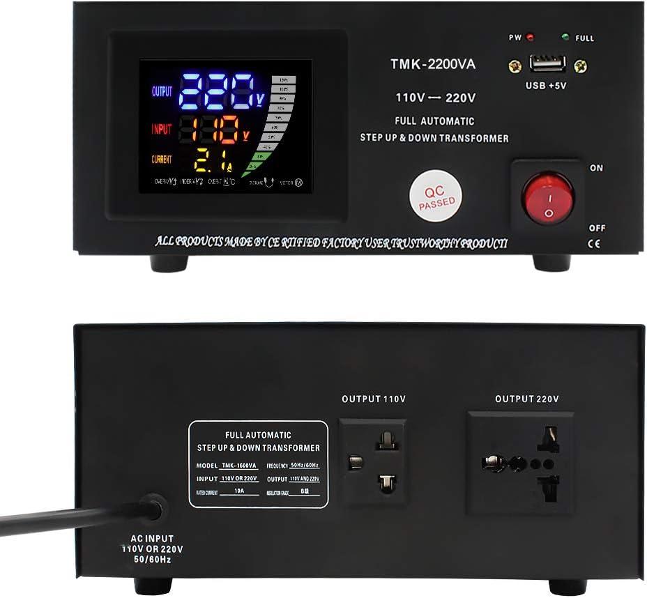Yinleader TMK-2200VA 2000W Voltage Converter Transformer 220V to 110V, 110V to 220V 220//240 Volt AC Automatic Voltage STABILIZER 2000 Watt Step Up//Down Converter 110//120 Volt TMK-02