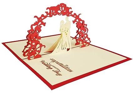 Amazon Com Supreona 3d Pop Up Wedding Invitation Card Valentine