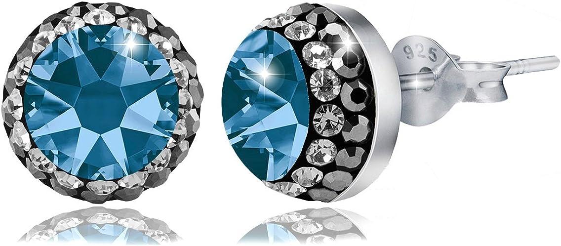 PAPOLY®, Pendientes y collar DOBLE línea de cristal SWAROVSKI® 0.33in/8,5mm PLATA DE LEY 925,disponible en varios colores