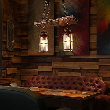 Lámparas de madera de la vendimia, luces de techo del desván Lámpara de cristal pendiente