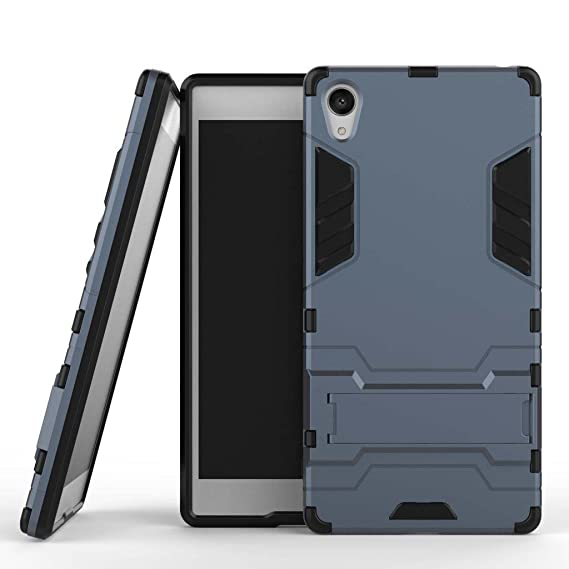 MaiJin Case for Sony Xperia Z5 Premium (5.5 inch) 2 in 1 Shockproof with Kickstand Feature Hybrid Dual Layer Armor Defender Protective Cover (Blue ...