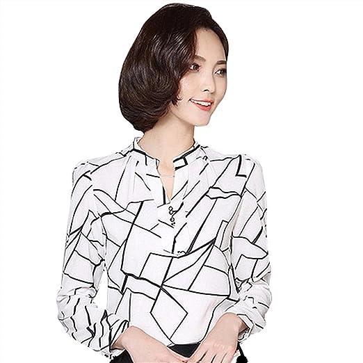Hengzhi Women S Office Slim Chiffon Long Sleeve Shirts Cute Light