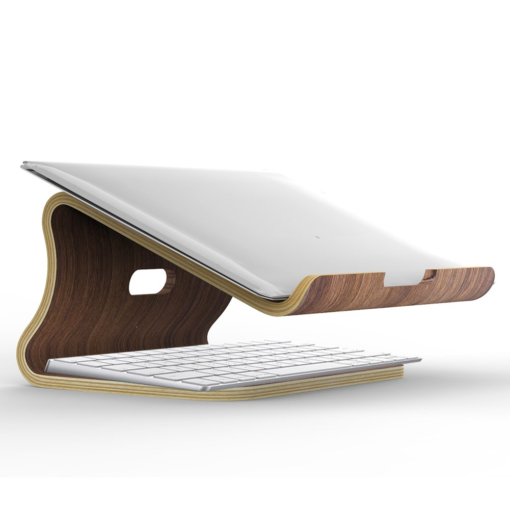 SAMDI Laptop Stand Wood, Wooden Cooling Computer Holder, Notebooks Desktop Mount for MacBook Air, Pro 13 15, iPad Pro 12.9, Dell XPS, Surface, Chromebook 11 to 17 (Walnut)