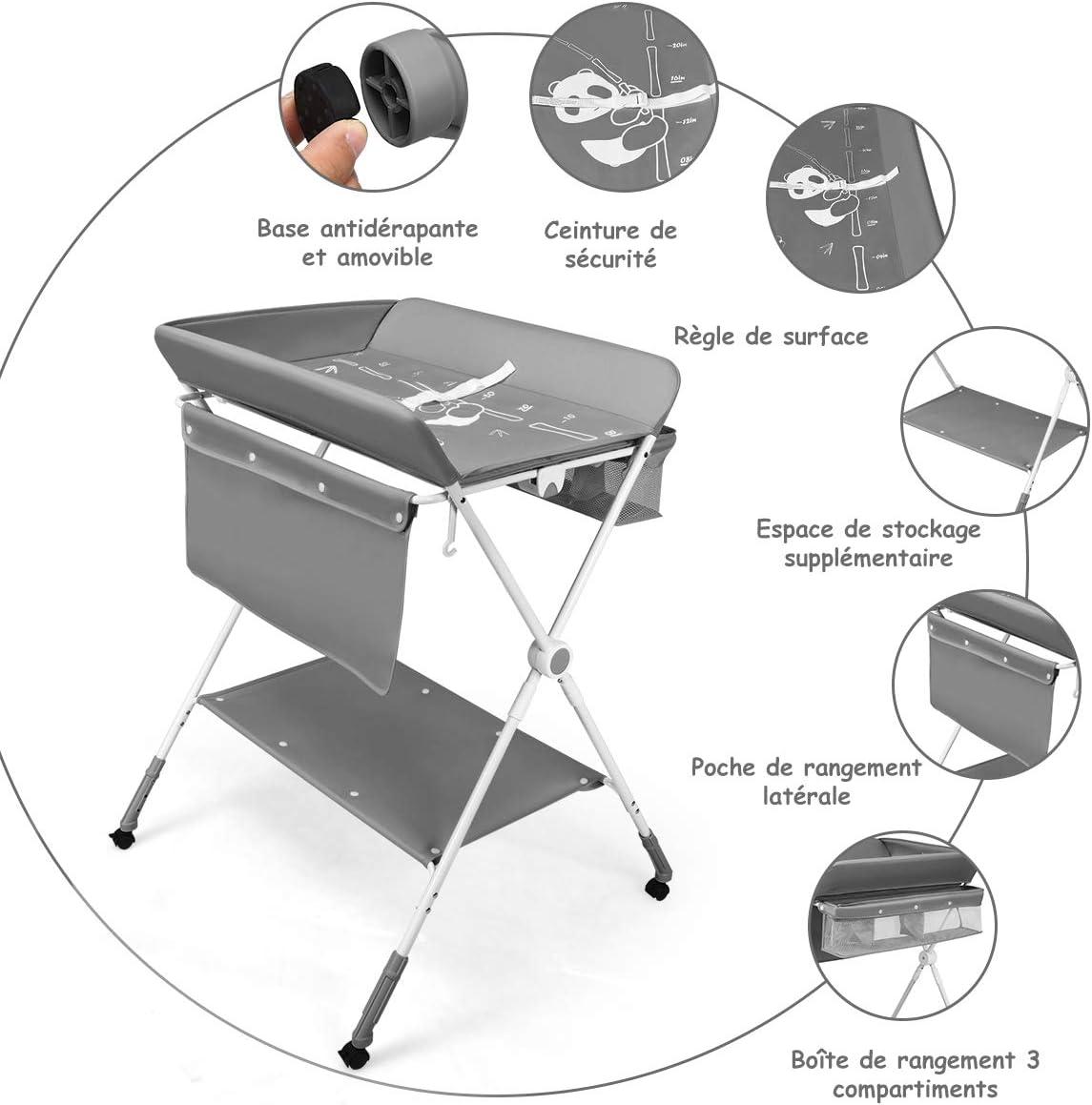 COSTWAY Table /à Langer /à Roulettes avec Panier de Rangement Hauteur R/églable en 3 Positions Structure en Fer pour Nouveaux-N/és Bleu B/éb/é