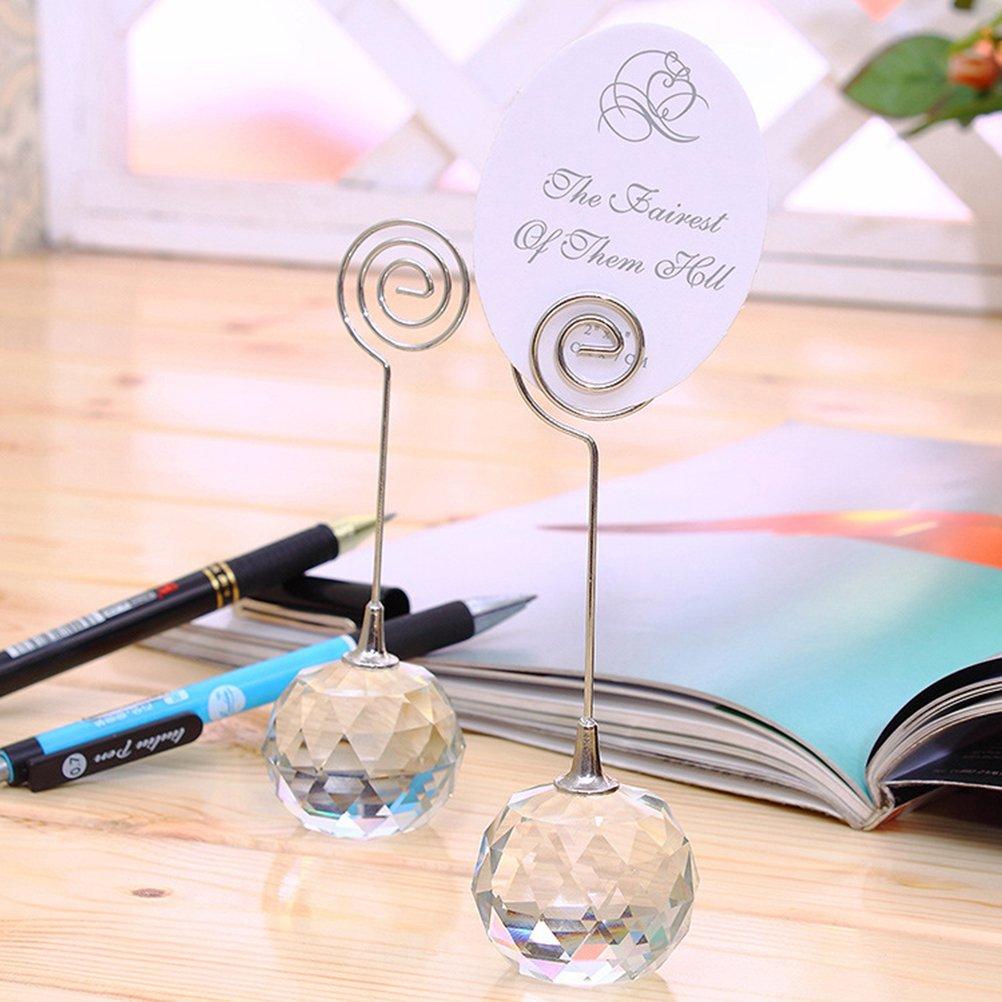 NUOLUX Portafotos bigliettini con pinza supporto per biglietti sfera di vetro 2/pezzi
