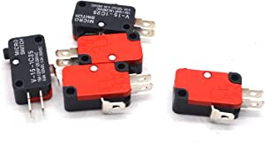Antrader V-15-1C25 125V/250V 15A Push Button SPDT Momentary Snap Action 1 NO 1 NC Micro Limit Switch 5-Pack