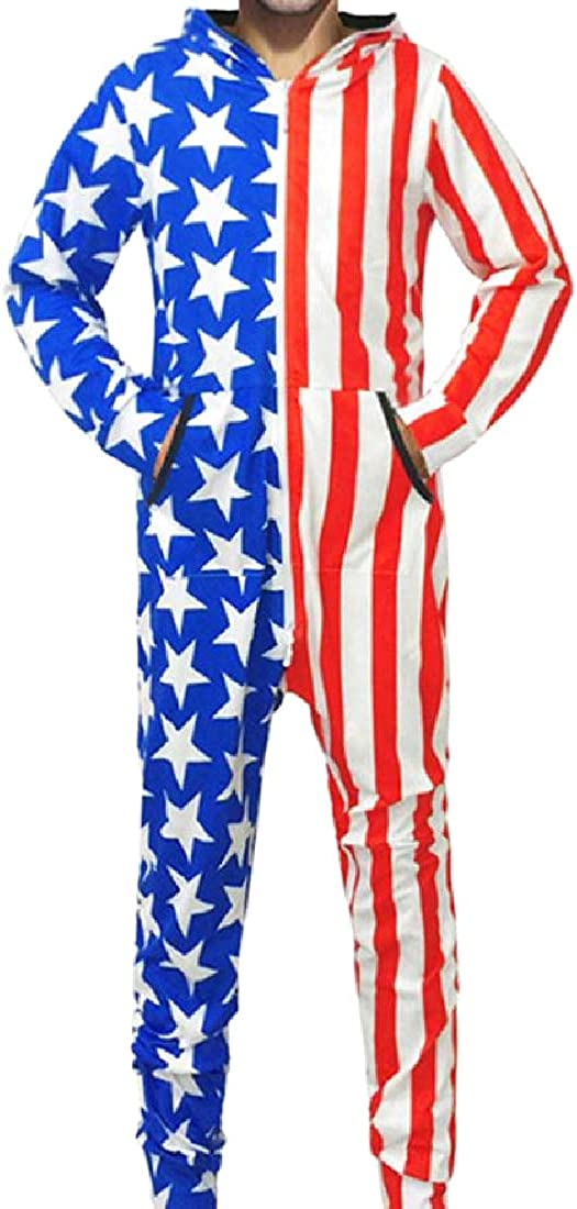 YUSKYMen Loose-Fit Stars and Stripes Underwear Playsuit with Hood