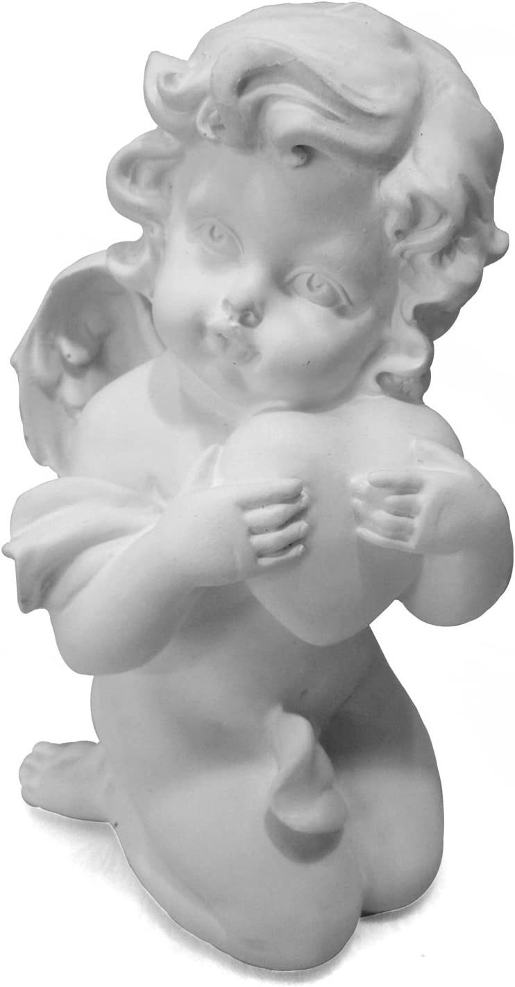 AVENUELAFAYETTE Figurine Statuette Ange Blanc Tenant Coeur M1 13 cm