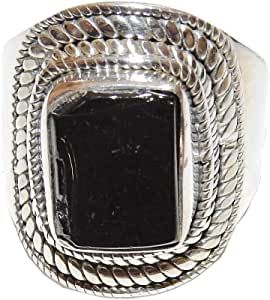 Raw Russian Elite Shungite sterling silver ring size 6.5 Strong EMF protection
