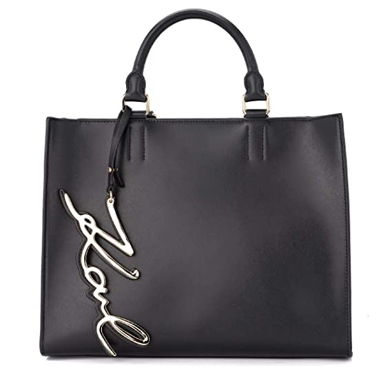 5b7958e6949a Karl Lagerfeld Women s Karl Lagerfeld Signature Black Leather Handbag Black   Amazon.co.uk  Clothing