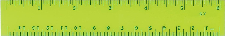 Westcott Fluorescent Ruler, Inch, Metric, 6, 15cm, Transparent Yellow (6-Y) 6 ACME United Corporation