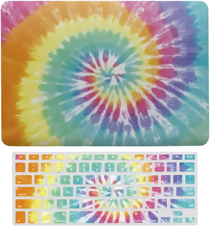 "Tie Dye Fantasy Spiral Plastic Hard Case Shell & Keyboard Cover for MacBook Air 13"" A1466 A1369 Boho Hippie,Retro Laptop Keyboard Membrane Fashion Protective Shell Fashion Set"