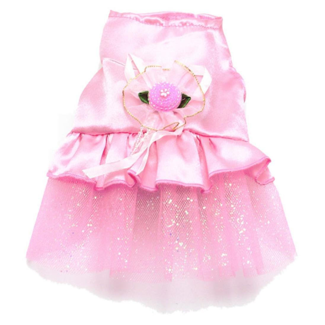Howstar Pet Dress, Fashion Puppy Clothes Dog Skirt Bow Tutu Doggie Lace Skirt (XXS, Pink)
