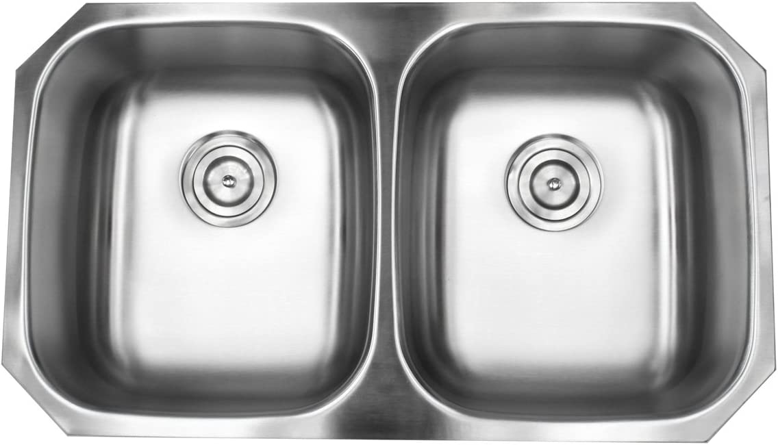 Contempo Living 18-904 32 inch Undermount 5050 Double Bowl 18 Gauge Stainless Steel Kitchen Sink,