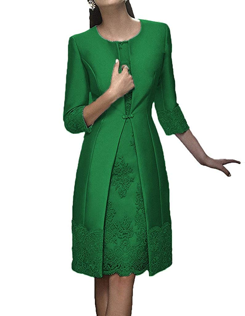 Promworld Womens Lace Applique Mother of The Bride Dress Tea Length Mother of The Groom Dress with Jacket